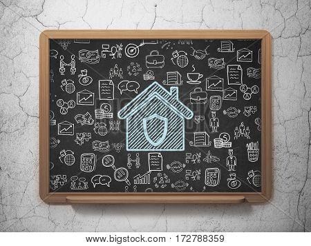 Business concept: Chalk Blue Home icon on School board background with  Hand Drawn Business Icons, 3D Rendering