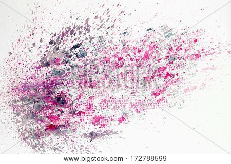 Abstract watercolor colorful background painting with spray, spots, splashes. Hand drawn on paper grain texture. Pink, grey. For modern pattern, wallpaper, text design, template.