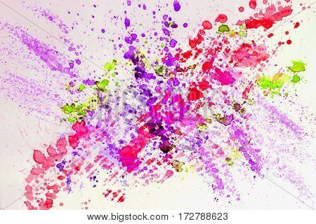 Abstract watercolor bright colorful background painting with spray, spots, splashes. Hand drawn on paper grain texture. For modern pattern, wallpaper, text design, template.