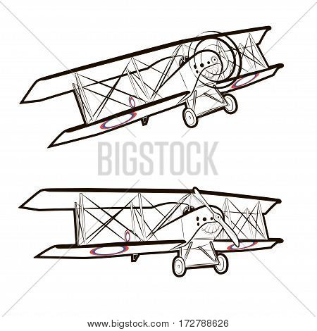 Vector illustration of a classic screw aircraft in static and in flight on a white background