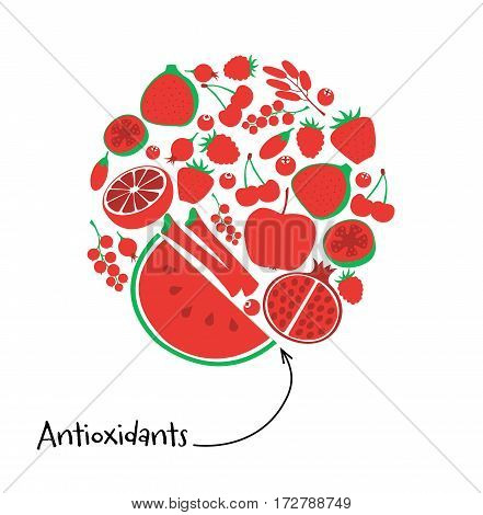 Antioxidant Red Fruit And Berry Icon Set. Round Vector Illustration Vegetarian Fresh Healthy Dessert