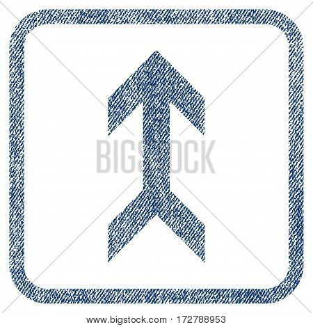Arrow Up vector textured icon for overlay watermark stamps. Blue jeans fabric vectorized texture. Symbol with scratched design inside rounded rectangle.
