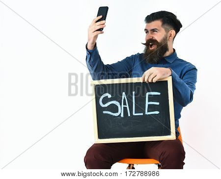 Bearded Man, Brutal Caucasian Hipster With Moustache And Mobile Phone