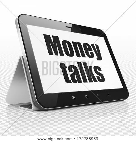 Finance concept: Tablet Computer with black text Money Talks on display, 3D rendering