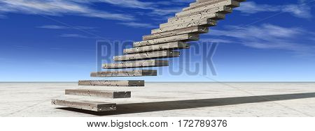 Concept or conceptual 3D illustration stair steps to heaven on sky background in desert with clouds banner