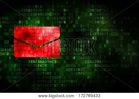 Business concept: pixelated Email icon on digital background, empty copyspace for card, text, advertising