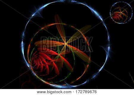 Abstract concentric rings and a flowers