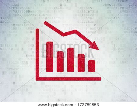 Business concept: Painted red Decline Graph icon on Digital Data Paper background