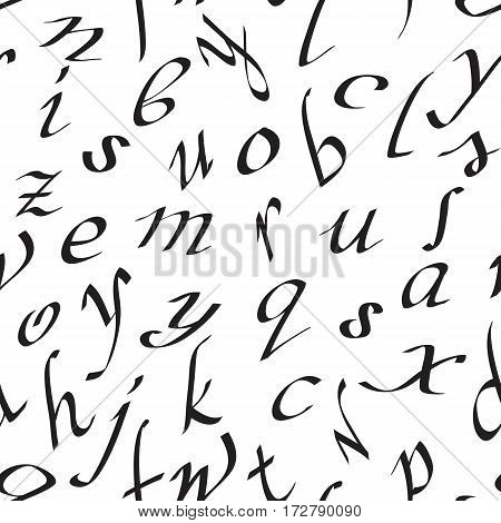 Vector seamless pattern with handwritten black letters.