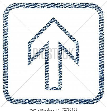 Arrow Up vector textured icon for overlay watermark stamps. Blue jeans fabric vectorized texture. Symbol with dust design inside rounded rectangle.