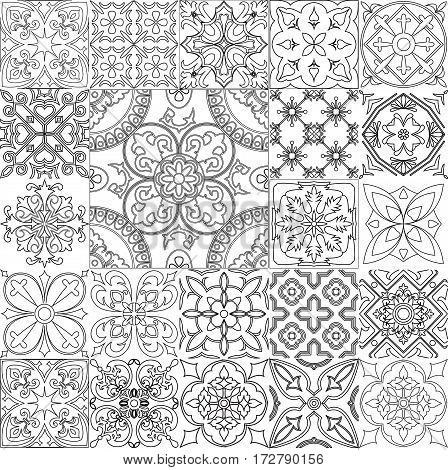 Big vector set of black and white tiles background. For coloring pages backgrounds decoration for your design page fill and more.