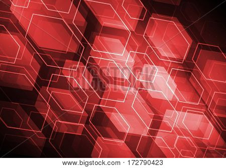 Abstract connection red structure as connection concept on color background