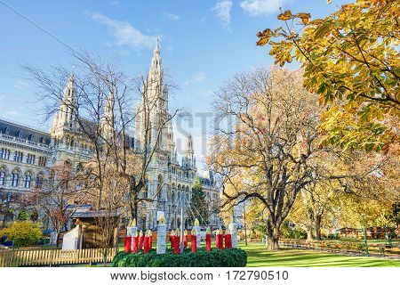 Rathaus, City Hall courtyard with new year decorations, in Vienna, Austria, blue sky, sunny day