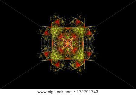 abstract fractal golden green symmetric figure on black