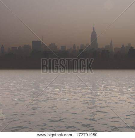 New York harbor. Sunset.