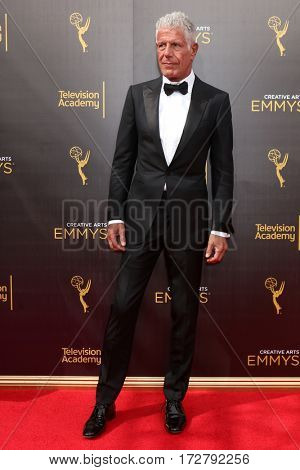 LOS ANGELES - SEP 11:  Anthony Bourdain at the 2016 Primetime Creative Emmy Awards - Day 2 - Arrivals at the Microsoft Theater on September 11, 2016 in Los Angeles, CA