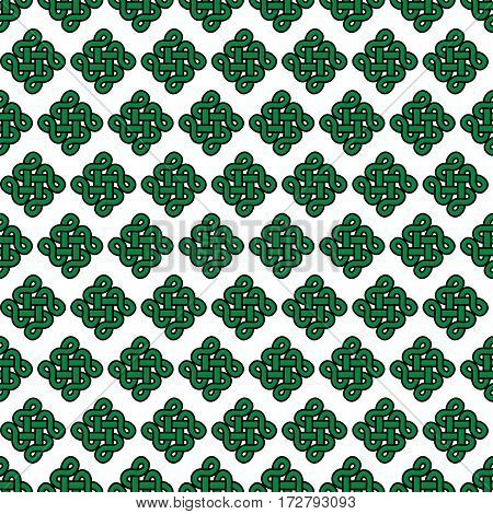 Celtic style endless knot symbol seamless pattern In green with black stroke on white background inspired by Irish St Patrick's Day,  Irish and Scottish Culture