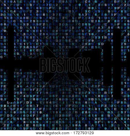 Boston skyline silhouette on hex code 3d illustration