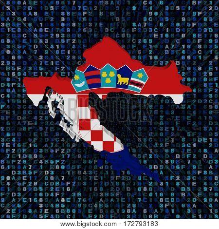 Croatia map flag on hex code 3d illustration