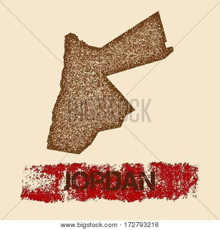 Jordan Distressed Map. Grunge Patriotic Poster With Textured Country Ink Stamp And Roller Paint Mark