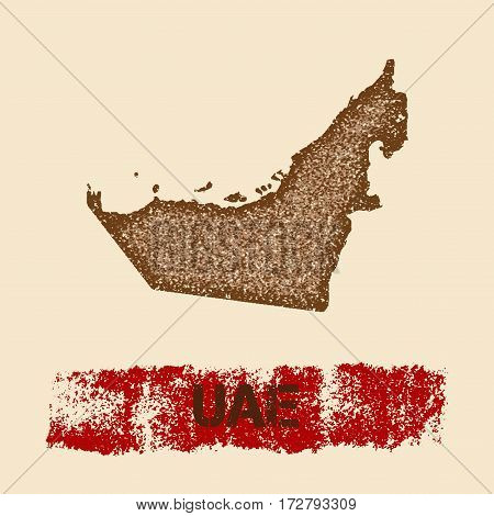Uae Distressed Map. Grunge Patriotic Poster With Textured Country Ink Stamp And Roller Paint Mark, V