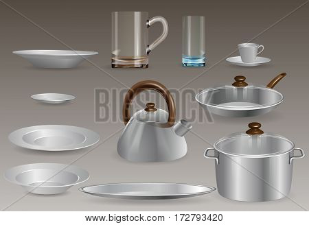 A set of kitchen utensils. Vector Image.
