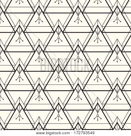 Vector seamless pattern. Modern stylish texture. Repeating geometric background with linear triangles with an ethnic feel to it. Trendy hipster sacred geometry. Eps 10