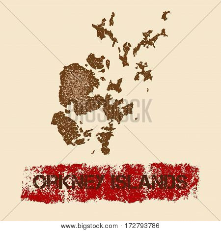 Orkney Islands Distressed Map. Grunge Patriotic Poster With Textured Island Ink Stamp And Roller Pai