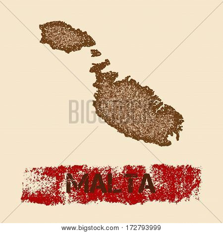 Malta Distressed Map. Grunge Patriotic Poster With Textured Island Ink Stamp And Roller Paint Mark,