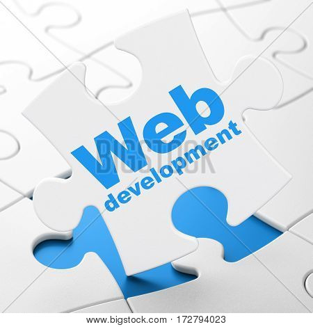 Web design concept: Web Development on White puzzle pieces background, 3D rendering