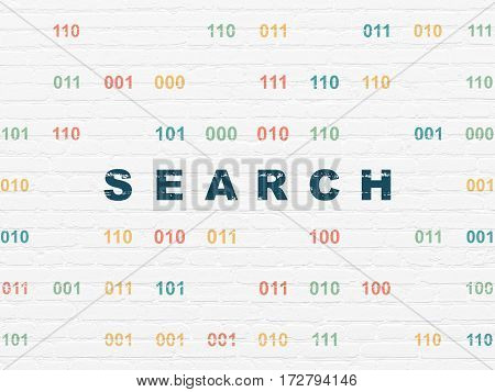 Web development concept: Painted blue text Search on White Brick wall background with Binary Code