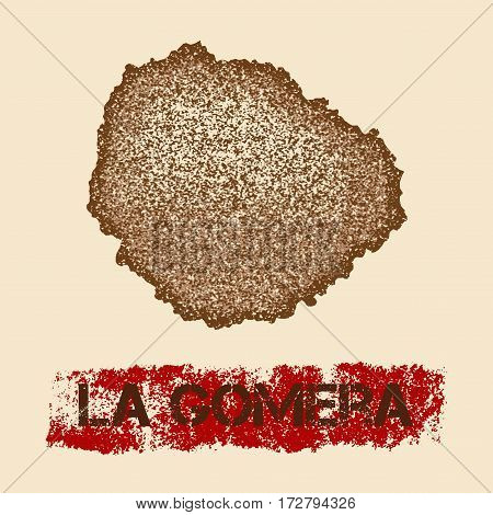La Gomera Distressed Map. Grunge Patriotic Poster With Textured Island Ink Stamp And Roller Paint Ma