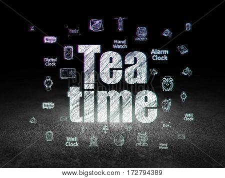 Timeline concept: Glowing text Tea Time,  Hand Drawing Time Icons in grunge dark room with Dirty Floor, black background
