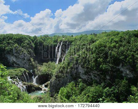 Natural waterfall in Plitvice National Park in Croatia