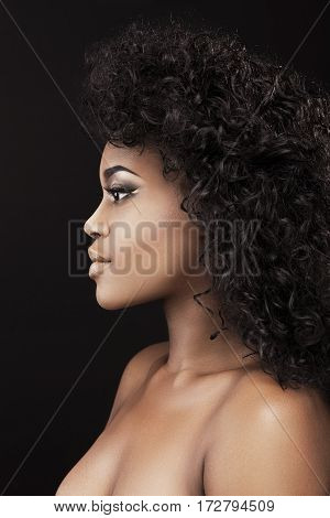 Portrait of beautiful African American girl with dark curly hair. Magnificent eyes, nice make-up. Head and shoulders, profile, indoors, studio