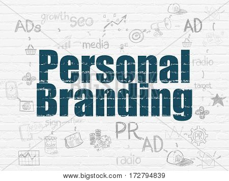 Marketing concept: Painted blue text Personal Branding on White Brick wall background with Scheme Of Hand Drawn Marketing Icons