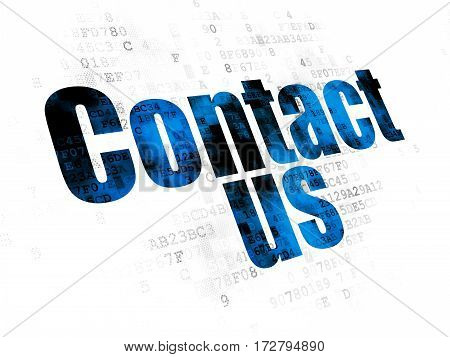 Advertising concept: Pixelated blue text Contact Us on Digital background