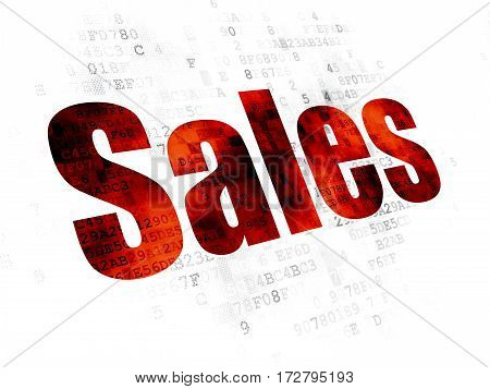 Marketing concept: Pixelated red text Sales on Digital background