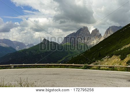 Picturesque Alpen Dolomites landscape with mountain road Italy, vacation destination