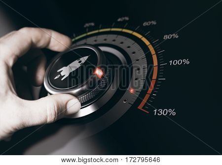 Hand turning a button with a rocket icon to the maximum acceleration. Concept of career acceleration. Composite between an image and a 3D background.