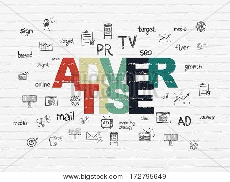 Marketing concept: Painted multicolor text Advertise on White Brick wall background with  Hand Drawn Marketing Icons