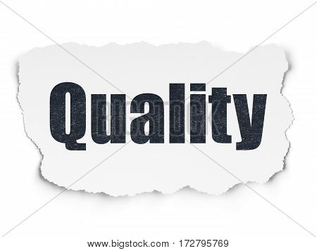 Marketing concept: Painted black text Quality on Torn Paper background with Scheme Of Hand Drawn Marketing Icons
