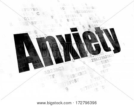 Health concept: Pixelated black text Anxiety on Digital background