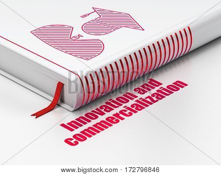 Science concept: closed book with Red Student icon and text Innovation And Commercialization on floor, white background, 3D rendering