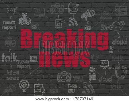 News concept: Painted red text Breaking News on Black Brick wall background with Scheme Of Hand Drawn News Icons