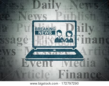 News concept: Painted blue Breaking News On Laptop icon on Digital Data Paper background with  Tag Cloud