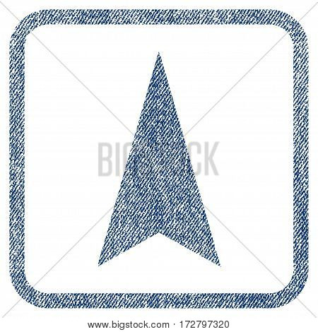 Arrowhead Up vector textured icon for overlay watermark stamps. Blue jeans fabric vectorized texture. Symbol with unclean design inside rounded rectangular frame.