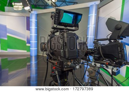the television camera close-up in news studio