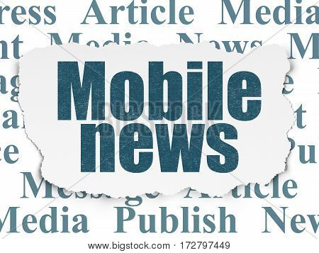 News concept: Painted blue text Mobile News on Torn Paper background with  Tag Cloud