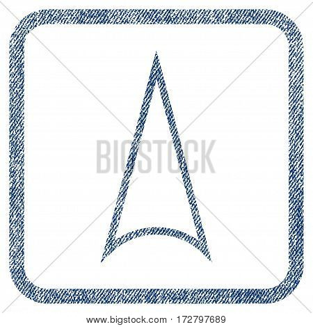 Arrowhead Up vector textured icon for overlay watermark stamps. Blue jeans fabric vectorized texture. Symbol with dust design inside rounded rectangular frame.